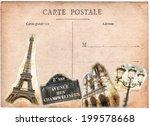 vintage postcard  paris collage | Shutterstock . vector #199578668
