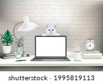 co working office interior with ...   Shutterstock .eps vector #1995819113
