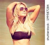 beautiful sexy stylish blond... | Shutterstock . vector #199587284