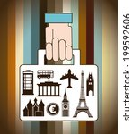 travel design over colorful... | Shutterstock .eps vector #199592606