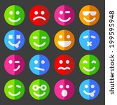 flat and round vector emotion... | Shutterstock .eps vector #199595948