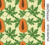 papaya fruit and papaya leaves... | Shutterstock .eps vector #1995962480