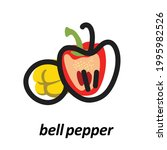 bell peppers with black bold...   Shutterstock .eps vector #1995982526