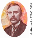 """Small photo of Scientist. Ernest, Lord Rutherford of Nelson, the """"father of the atom"""" Portrait from New Zealand 100 Dollars 1999 Banknotes."""