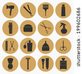 barber shop tools icons set | Shutterstock .eps vector #199602686