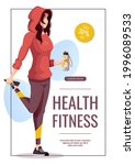 promo banner with woman doing...   Shutterstock .eps vector #1996089533