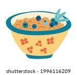 bowl of porridge. oatmeal... | Shutterstock .eps vector #1996116209