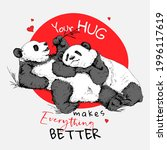 two pandas hugging and resting. ... | Shutterstock .eps vector #1996117619