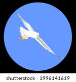 Seagull Fly On Blue Sky Vector...
