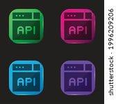 api four color glass button icon