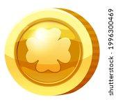 gold medal coin clover leaf...
