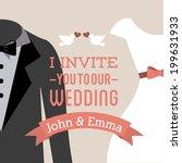 wedding design over pink...   Shutterstock .eps vector #199631933