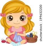 illustration of a cute little... | Shutterstock .eps vector #199632200