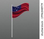 samoa waving flag on metal pole.... | Shutterstock .eps vector #1996348979