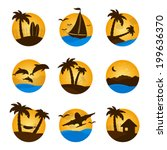set tropical flat circle... | Shutterstock .eps vector #199636370