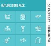 tourism icon set and airplane...