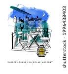 outdoor patio scenario sketch....   Shutterstock .eps vector #1996438403