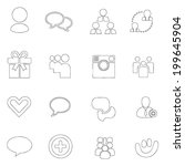 social icons thin line  drawing ... | Shutterstock .eps vector #199645904