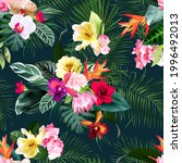 exotic tropical flowers  orchid ... | Shutterstock .eps vector #1996492013