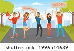 crowd of protesting people...   Shutterstock .eps vector #1996514639