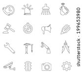 tools icons thin line drawing...