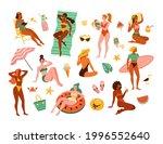 Women On A Beach. Vector...