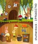 Rabbit Family In Underground...