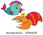 crawfish and fish | Shutterstock .eps vector #1996659