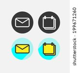 set icon flat design. vector.