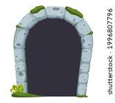 stone castle arch door  ruined...
