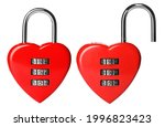 Locked And Open Heart Shaped...