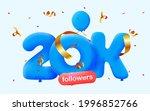 20k followers thank you 3d blue ... | Shutterstock .eps vector #1996852766