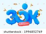 30k followers thank you 3d blue ...   Shutterstock .eps vector #1996852769