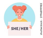 woman holding sign with gender...   Shutterstock .eps vector #1996899983