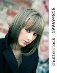 vertical shot of pretty blond...   Shutterstock . vector #199694858