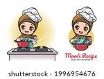 cute female muslim chef cooking ... | Shutterstock .eps vector #1996954676