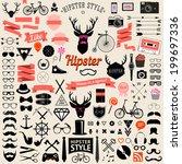 huge set of vintage styled... | Shutterstock .eps vector #199697336