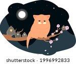 cute fat cat sitting on a... | Shutterstock .eps vector #1996992833