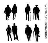 vector silhouette of old people ... | Shutterstock .eps vector #199700774