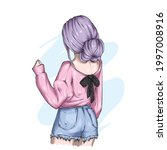 a girl with a stylish hairstyle ... | Shutterstock .eps vector #1997008916