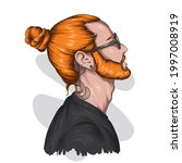 handsome hipster guy with... | Shutterstock .eps vector #1997008919