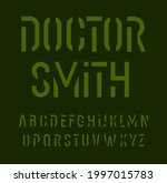 stencil font alphabet letters.... | Shutterstock .eps vector #1997015783