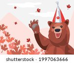 Canada Day Bear With Party Hat