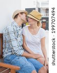 young hip couple sitting on... | Shutterstock . vector #199707494