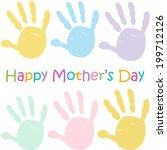 mother's day kids handprint | Shutterstock .eps vector #199712126