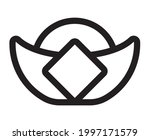 line art vector icon a sycee or ... | Shutterstock .eps vector #1997171579