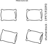 pillow icons set isolated on...