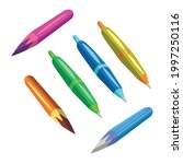 color pencils and pen of... | Shutterstock .eps vector #1997250116