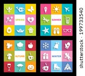set of 32 flat icons four... | Shutterstock .eps vector #199733540