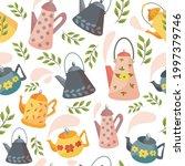a set of teapots. scandinavian...   Shutterstock .eps vector #1997379746